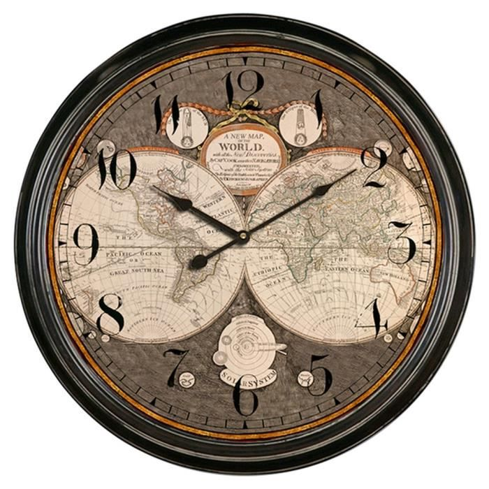 horloge murale geante vintage 83cm mappemonde achat vente horloge cdiscount. Black Bedroom Furniture Sets. Home Design Ideas