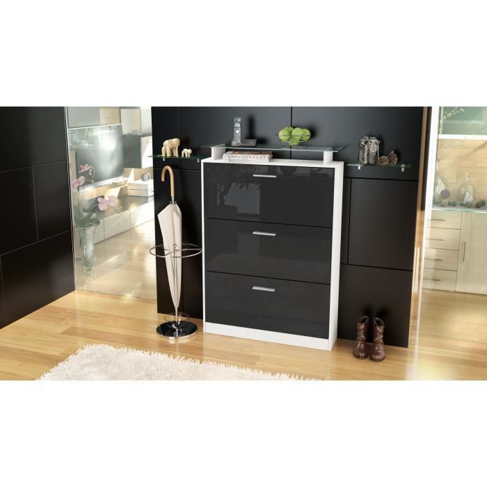 armoire chaussures 24 paires blanc noir m tallique. Black Bedroom Furniture Sets. Home Design Ideas