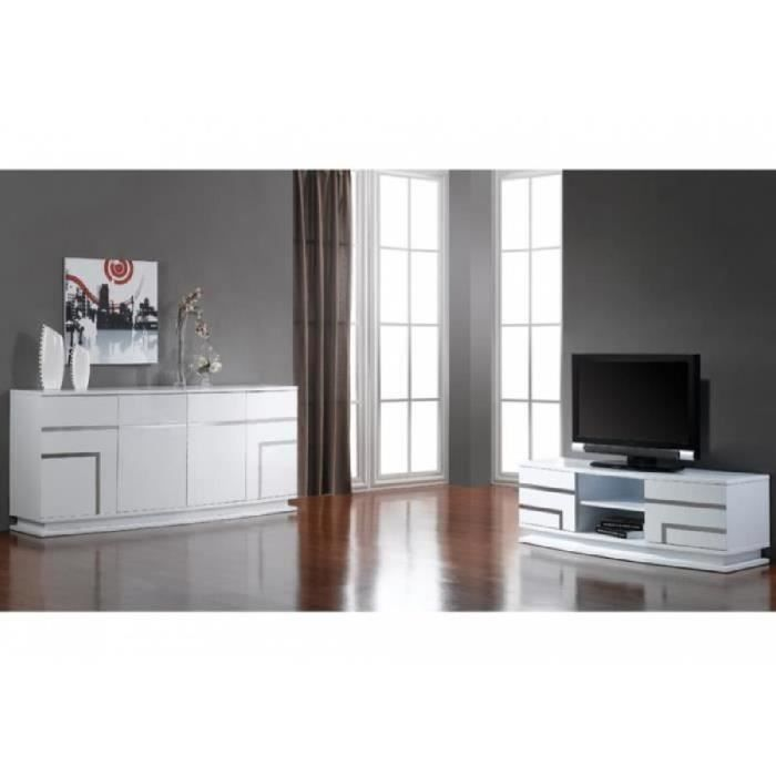 buffet luminescence iv mdf laqu blanc et led achat vente buffet bahut buffet. Black Bedroom Furniture Sets. Home Design Ideas