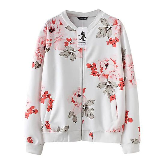 Outwear Floral Mode Casual Pardessus Veste Hsw80726454whwhite Sweat Exquisgift Imprimer Top Coat Féminine nw4d4taq0