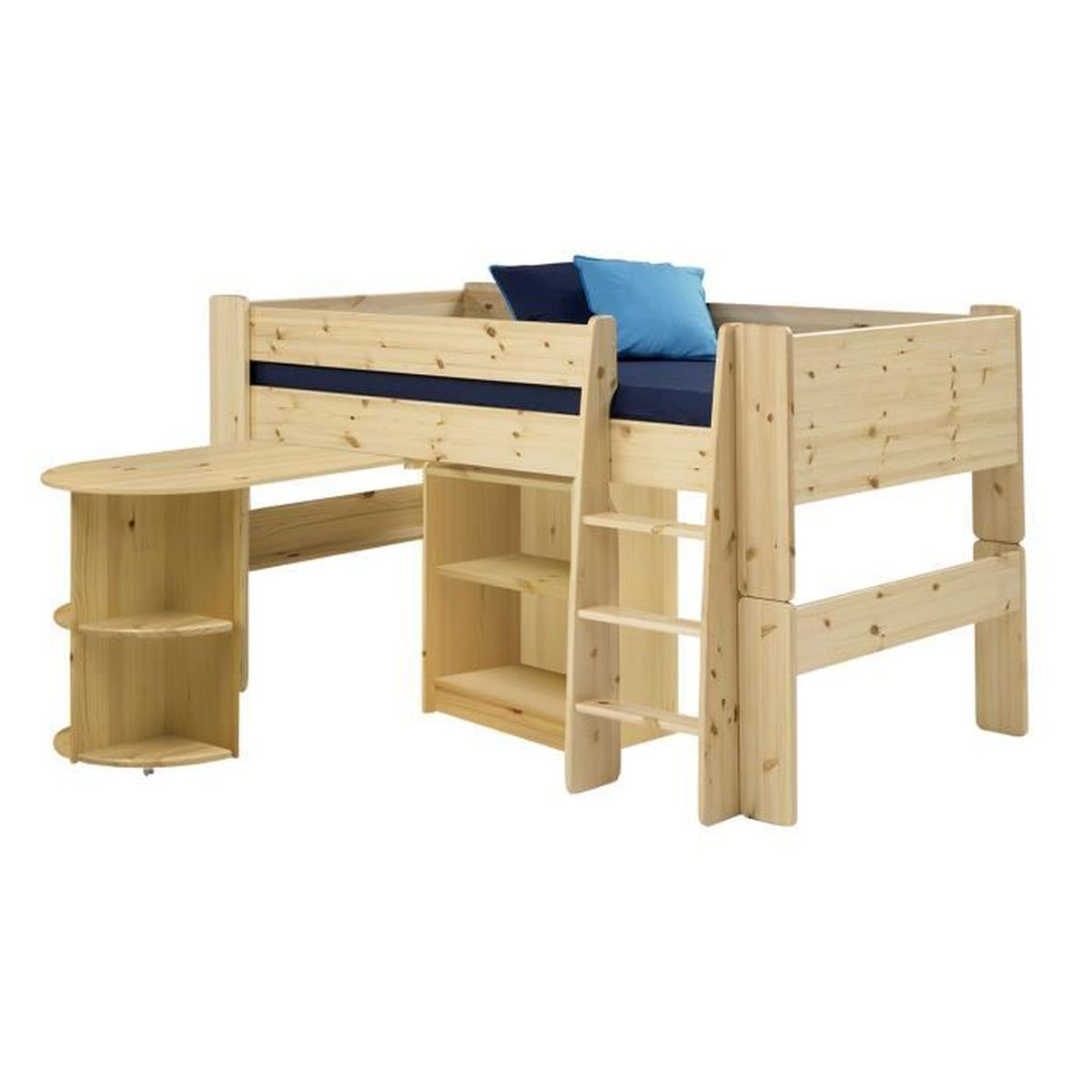 Lit Mezzanine 2 Adultes lit mi-hauteur en pin naturel, avec bureau et étagères