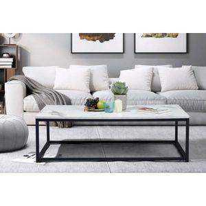 TABLE BASSE FACTO Table basse rectangle - Décor marbre et noir