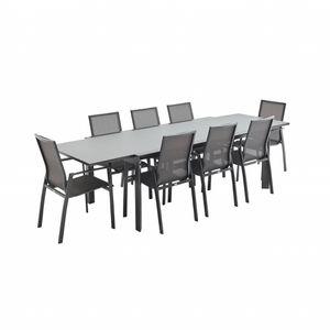 Ensemble table et chaise de jardin Salon de jardin table extensible - Washington Gris