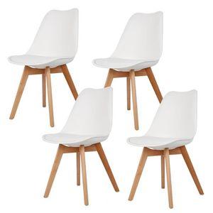 CHAISE KEKE-Lot de 4 Blanc Chaise de Cuisine Salle à Mang