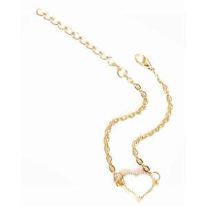 BRACELET DE MONTRE Bracelet doré coeur émail blanc (blanc - Métal dor