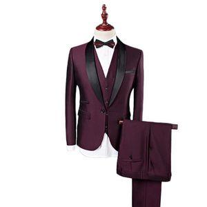 COSTUME - TAILLEUR Costume Cérémonie Homme 3 Pièces Mode Costume Col