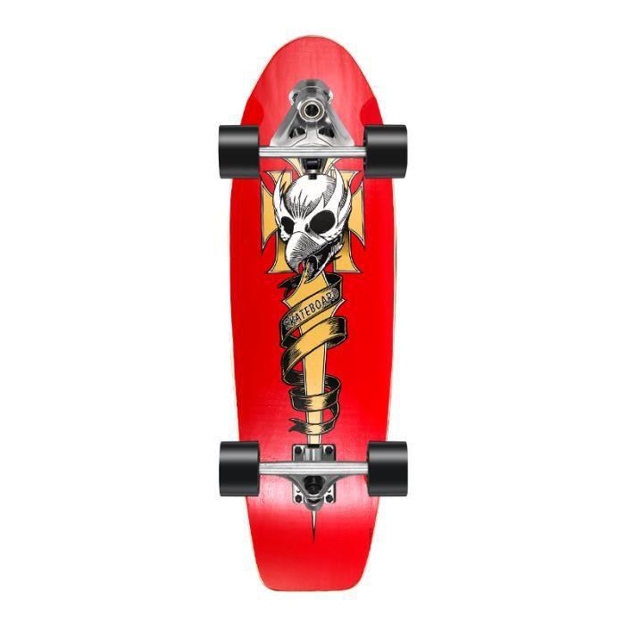 Land Surfing Skateboard-ABEC-11 Direction flexible - Crâne Rouge