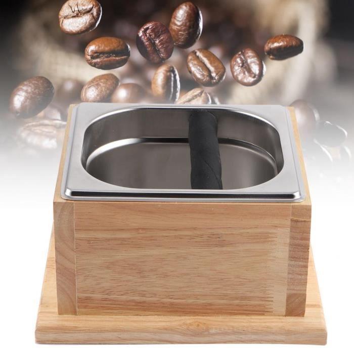 Boîte de seau de récipient moulu de café d'acier inoxydable avec la base en bois pour l'usage de café-XID