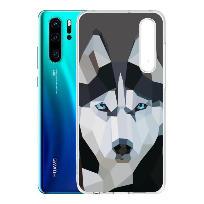 Coque Huawei P30 - Loup Husky Origami. Accessoire telephone, coque de protection