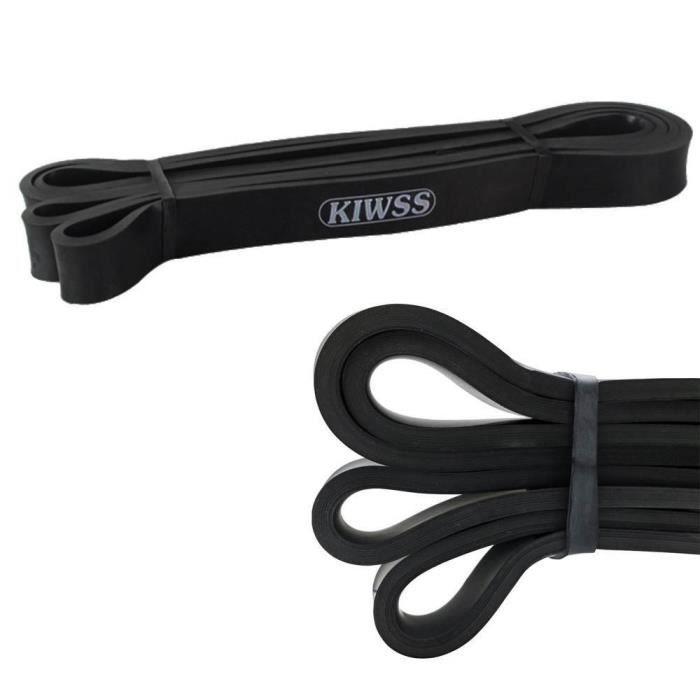 KIWSS Bande élastique en Latex pour Traction, Yoga, CrossFit -Noir pour homme / femme