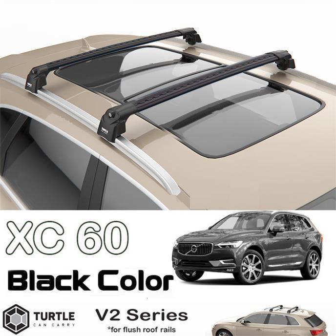 Barres de toit pour Volvo XC 60 2018> transversales, alu noir (le jeu de 2) série Turtle V2 avec serrures