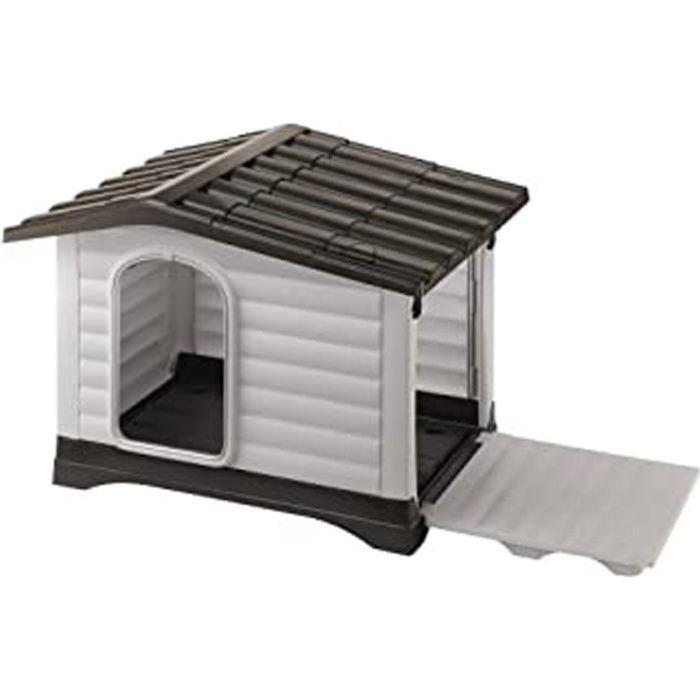 Niche Pour L'Extérieur, Maison Pour Chiens Dogvilla 90 En Résine Thermo-Plastique Résistant, Panneaux Latérales Ouvrable
