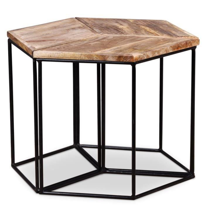 Table Basse Style Industriel -Table de Salon Scandinave Table Café - Bois de manguier massif 48 x 48 x 40 cm★2634