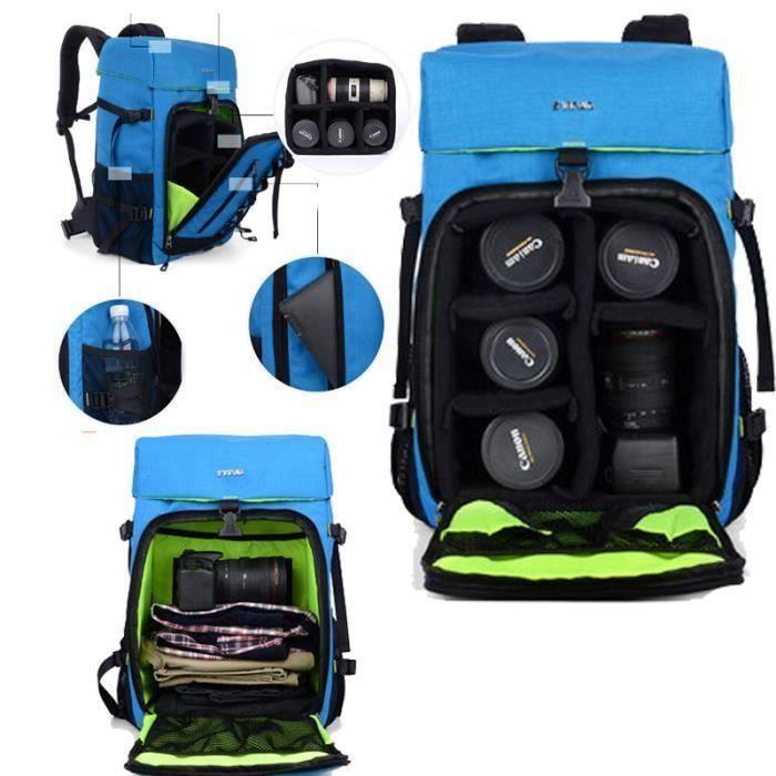 bleu sac a dos appareil photo reflex respirant pour canon pour nikon. sac de voyage. sac photo bandoulière.