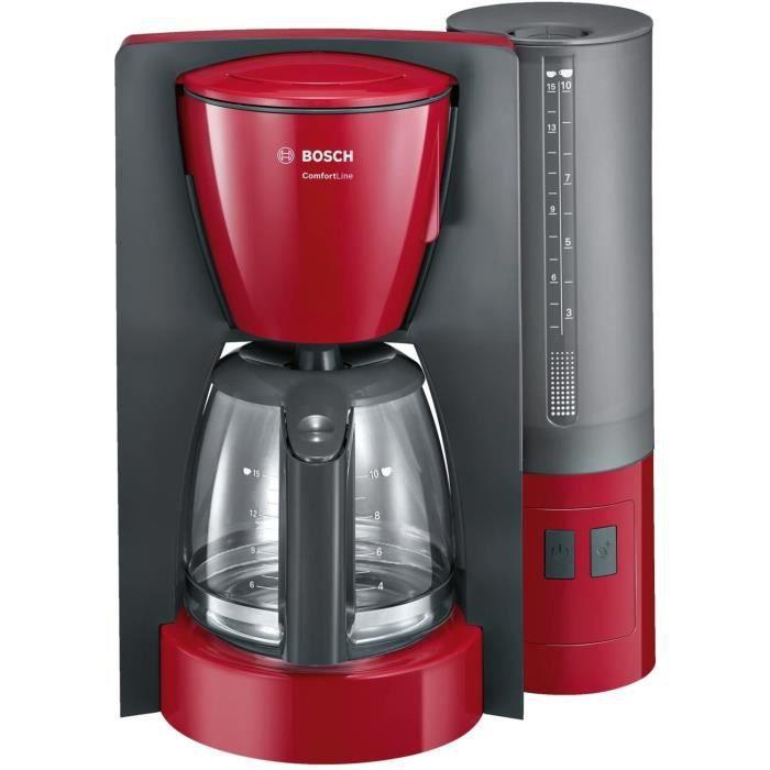 Bosch TKA6A044 Machine à Café Comfort Line, Verseuse en Verre 1200 W, 1,25 L, Rouge/Anthracite