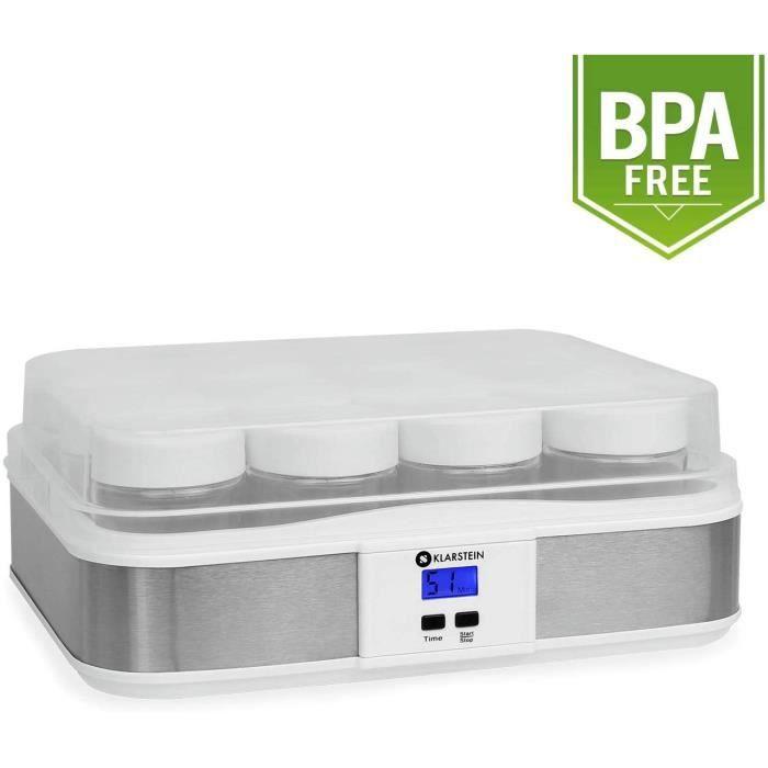 Klarstein Gaia yaourtière électrique 12 pots (préparation de yaourts maison, fromage frais, couvercle hermétique, jusqu'à 2,5L, cadr