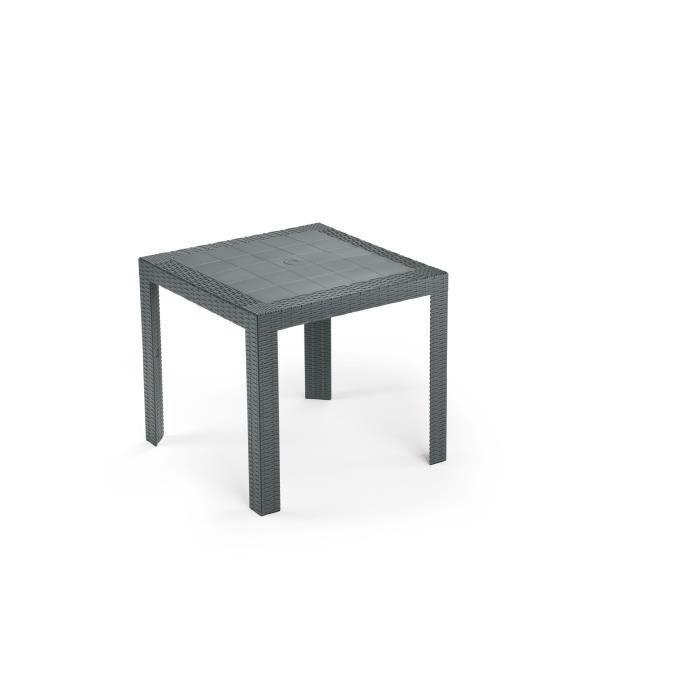 Table de jardin carrée Saturno - En résine tressée - 80 x 80 x 72 cm - Gris anthracite