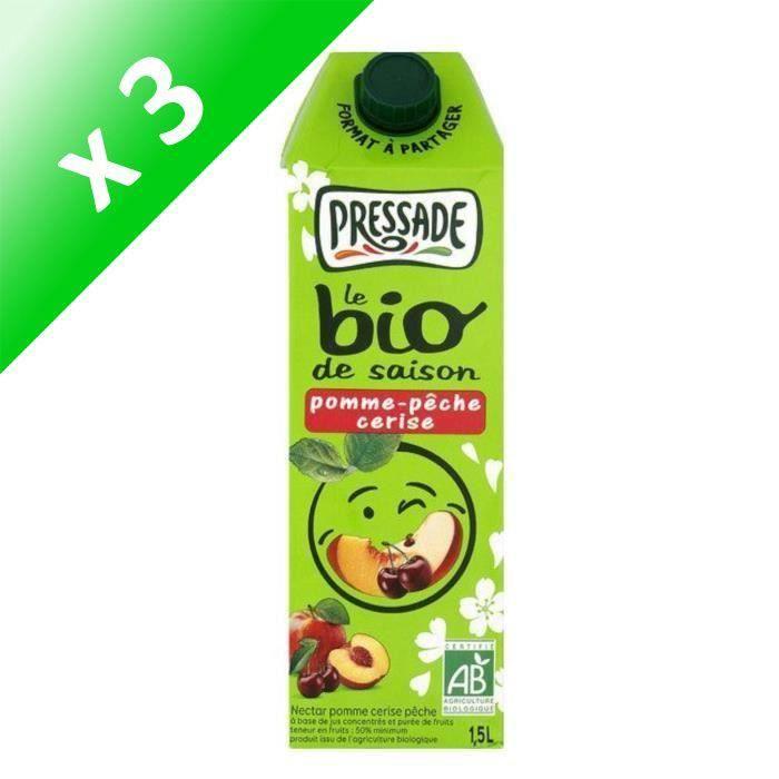 PRESSADE Nectar pomme, pêche, cerise bio - 1,5 l (Lot de 3)