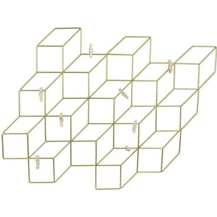 THE HOME DECO FACTORY Pêle-mêle - Cubes filaires Or - 8 Pinces - 46X42 cm - Noir