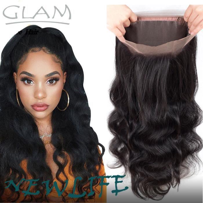 10A lace frontal 360 Body Wave cheveux naturel indien lace closure virgin hair 8 pouces