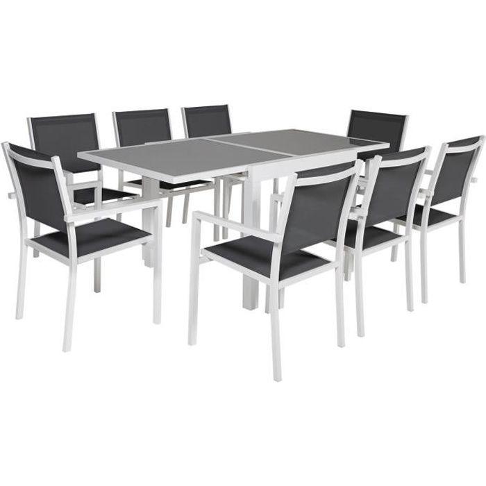 Salon de jardin LAMPEDUSA extensible en textilène gris 8 places - aluminium blanc Blanc
