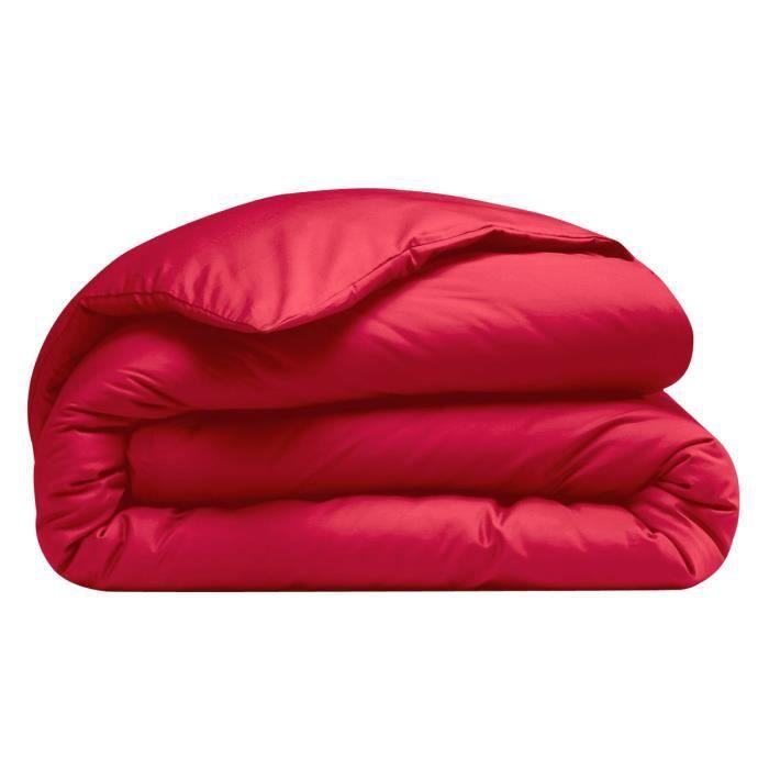 Housse de couette poly/coton Rouge 140x200cm