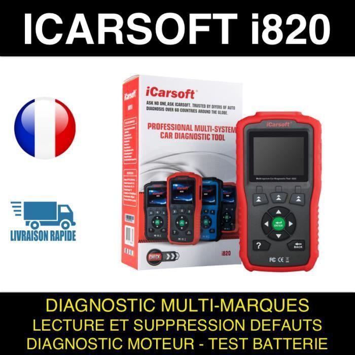 ICARSOFT i820 Valise Diagnostique Multimarque Auto En Français Obd avec Ecran