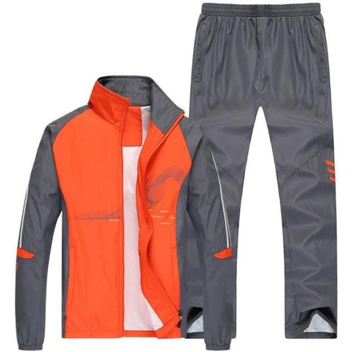 Jogging survêtement Hommes Sport Training Manches longues Zipper Grande Taille Deux Pièces Veste + Pantalon Printemps Automne Orange