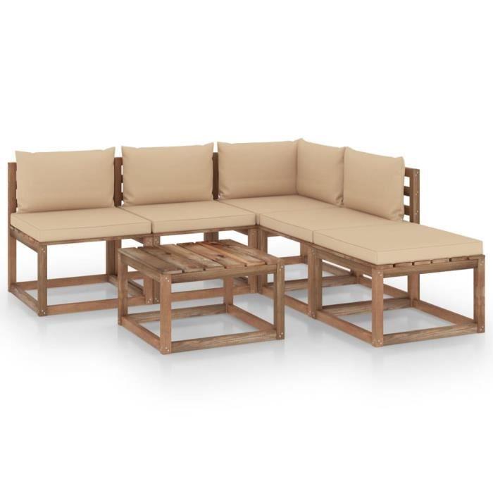 7610MOBI- Salon palette de jardin 6 pcs Grand Confort,Mobilier de Jardin,Meubles d'Extérieur Terrasse et coussins Bois de pin imprég