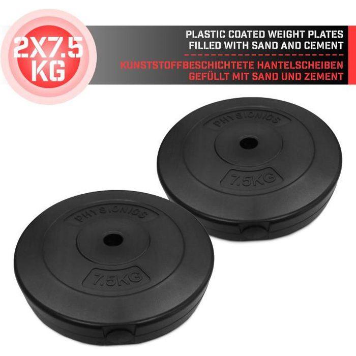 Physionics® Disques de Poids - Set de 2 x 7,5 kg, Ø 27mm, avec Revêtement en Plastique - Plaques pour Haltères, Fitness, Musculation