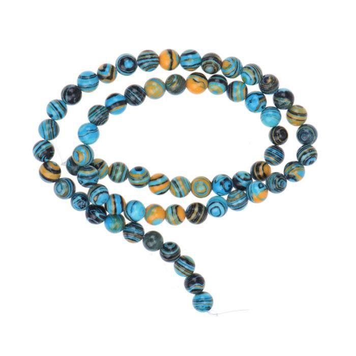 48pcs perles de pierre colorées bleues rondes malachite bricolage artisanal créatif bijoux BRACELET - GOURMETTE - JONC