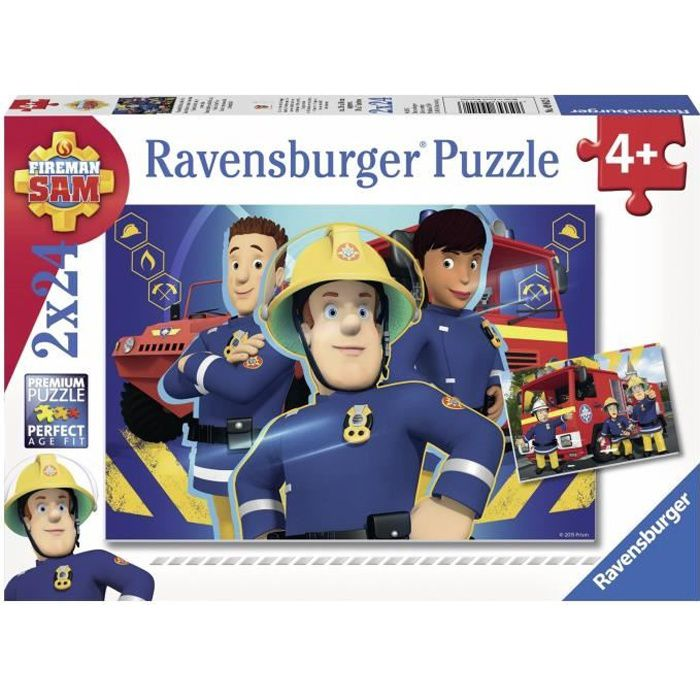 SAM LE POMPIER Puzzles 2x24 pièces - Sam t'aide dans le besoin - Ravensburger - Lot de puzzles enfant - Dès 4 ans