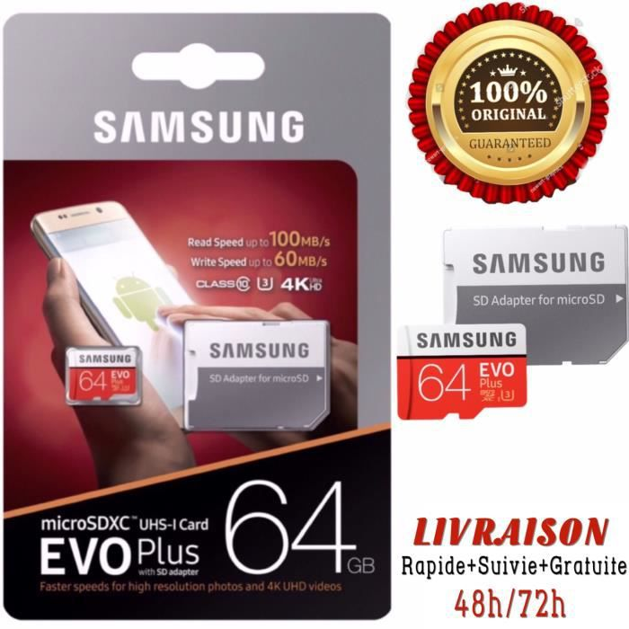 Carte Mémoir Samsung Evo Plus 64 Go Micro sd Sdxc 100Mb/S + Adopteur 2017 Model.