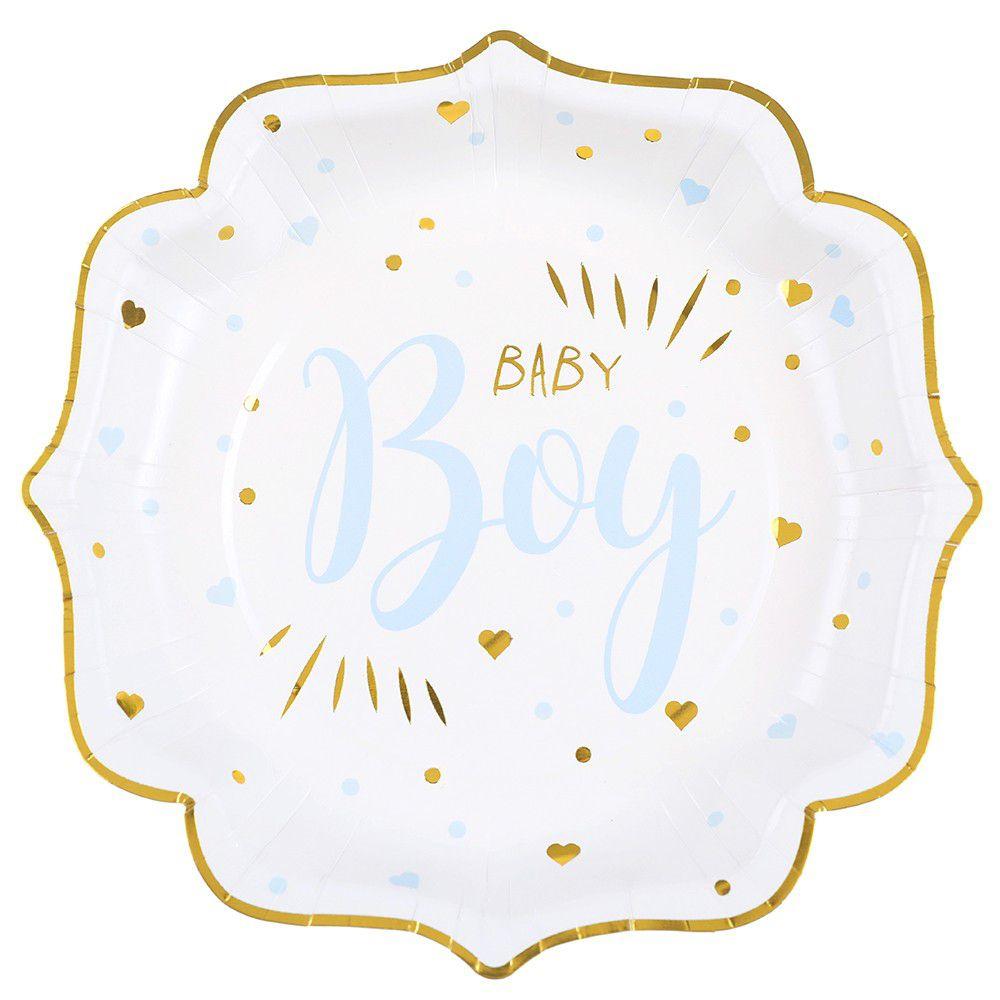 Assiette Baby Shower Boy en blanc, bleu ciel et or métallisé 21cm (x10) REF/7252 matière carton