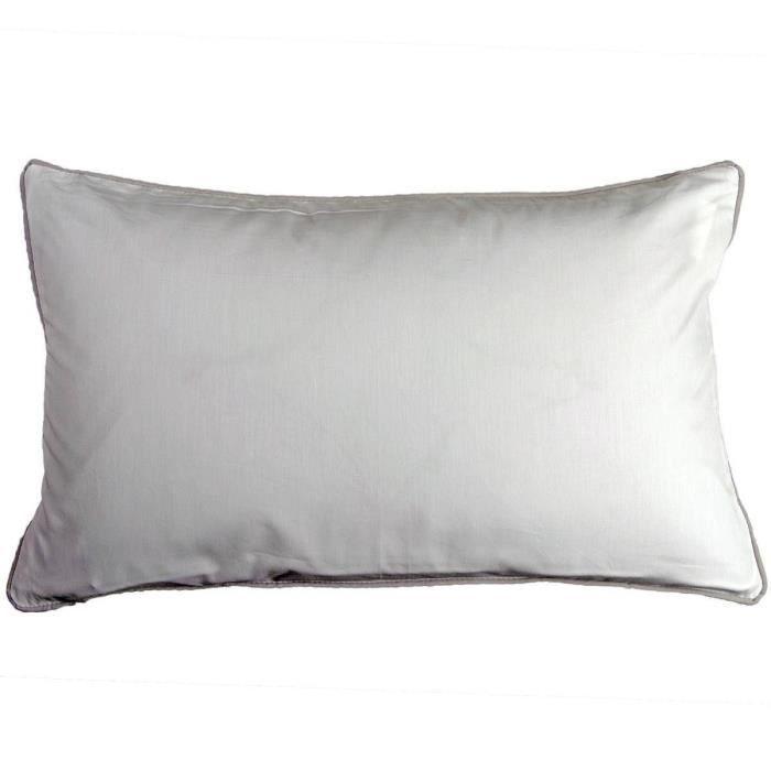 Housse de Coussin Percale Passepoil - Sensei La Maison du Coton - Blanc/Gris Clair - Taille : 30x50