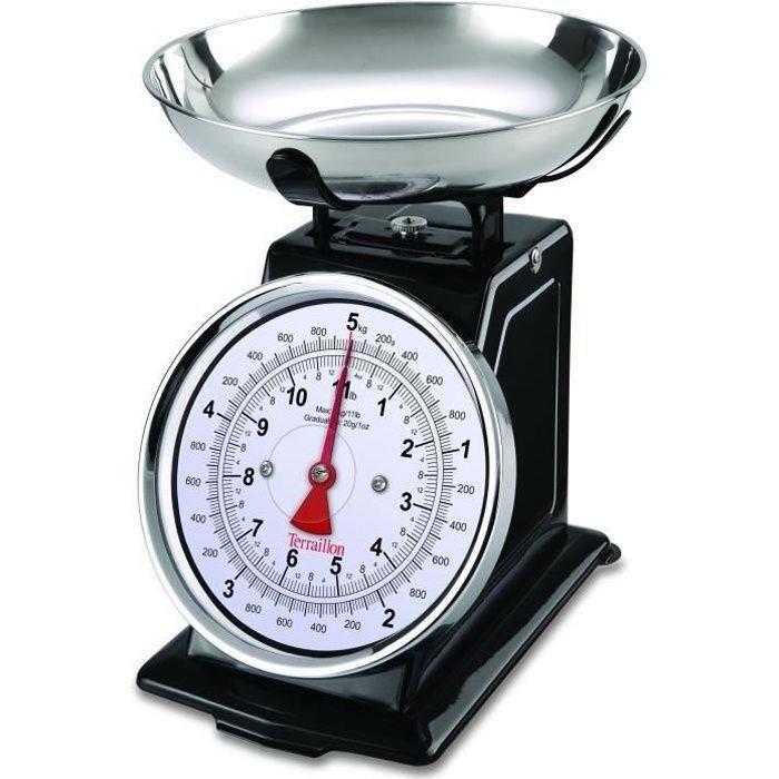 TERRAILLON 14477 Balance mécanique rétro déco - 5 kg - bol 1L - Large cadran - Metal - Noire