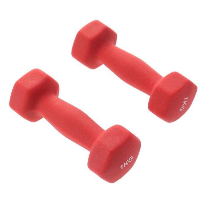 Une paire 1kg femmes dhaltères d 'exercice ergonomiques barre de main Lady Barbells pour yoga exercice BARRE - HALTERE - POIDS