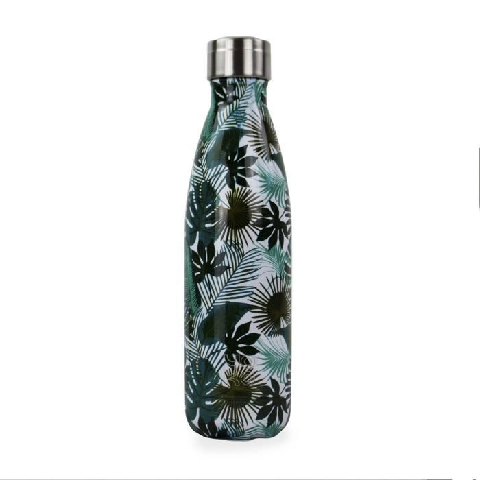 BARBACADO Bouteille Isotherme Feuilles Vertes Tropical, Gourde Isotherme Feuillage, sans BPA, Bouteille INOX 500ml Double paroi, Cad