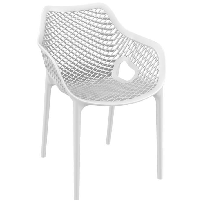 Chaise de jardin terrasse 39 sister 39 blanche en mati re for Chaise blanche plastique