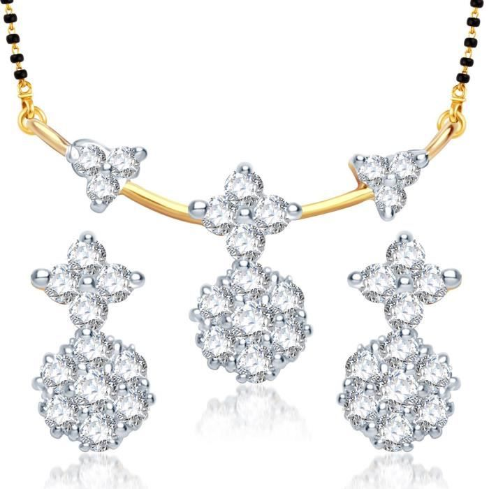 Womens galsutra Pendant Set With Earrings For Jewellery Set Gold Plated In Cz American Diamond Ms GDD0W