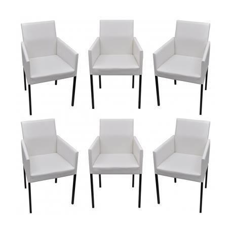 lot de 6 chaises de salle manger salon blanches modernes achat vente chaise cdiscount. Black Bedroom Furniture Sets. Home Design Ideas
