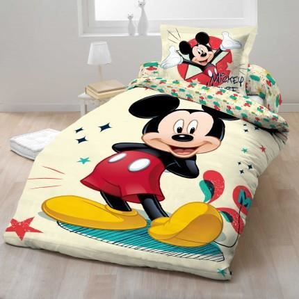 parure de lit micke disney 100 coton achat vente parure de couette cdiscount. Black Bedroom Furniture Sets. Home Design Ideas