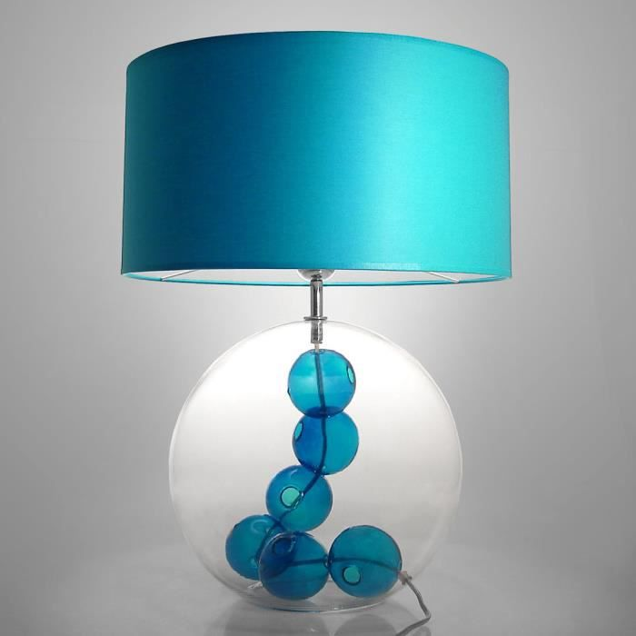 lampe poser en verre souffl bouche avec bulles de verre hauteur 53cm necklace bleu indigo. Black Bedroom Furniture Sets. Home Design Ideas