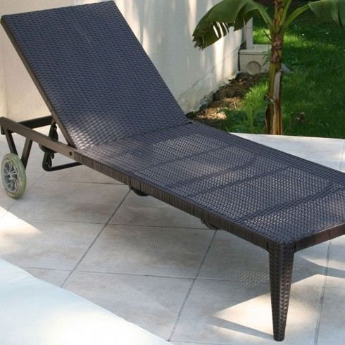 Bain de soleil en r sine tress e multi positions achat for Chaise piscine pas cher