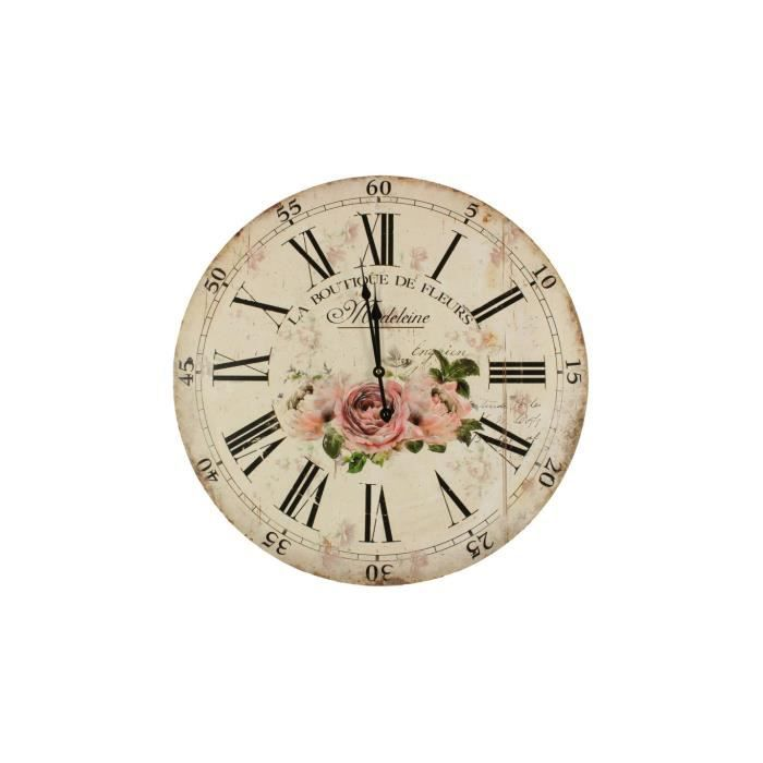 horloge ancienne murale la boutique de fleurs 58cm achat vente horloge bois cdiscount. Black Bedroom Furniture Sets. Home Design Ideas