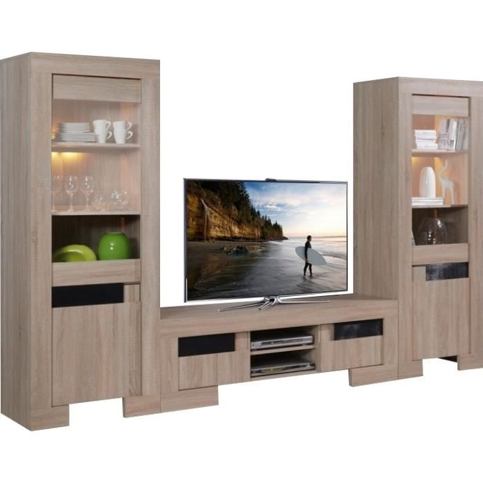 ensemble meuble tv et vitrines design contemporains coloris bois et noir avec led bois achat. Black Bedroom Furniture Sets. Home Design Ideas