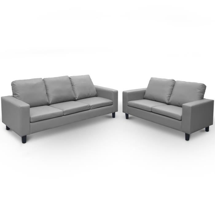 Canap 3 et 2 places simili cuir univers canap - Canape 3 places simili cuir ...