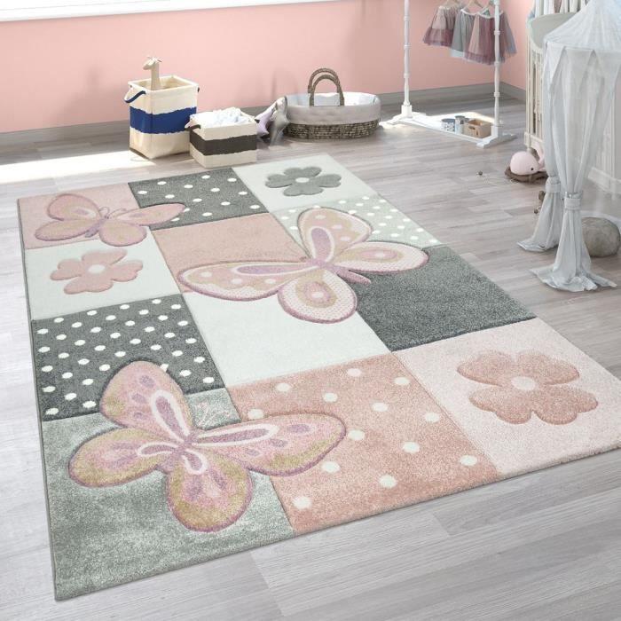 Tapis Chambre Enfant Couleurs Pastel Papillon Motif Carreaux Pois Fleurs  Coloré [140x200 cm]