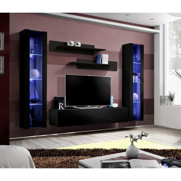 meuble tv fly a2 noir noir laqu achat vente meuble tv meuble tv fly a2 noir noir cdiscount. Black Bedroom Furniture Sets. Home Design Ideas