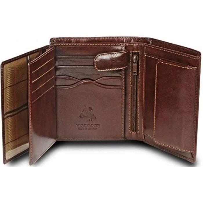 Visconti homme en cuir porte-carte Portefeuille ID fente Noir